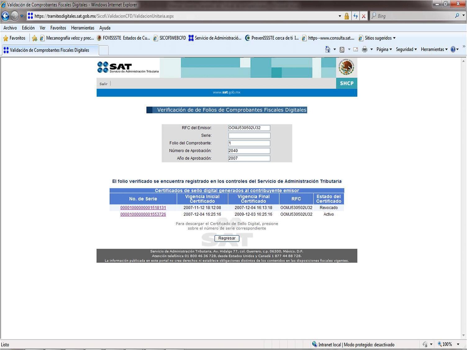 401 certificado revocado