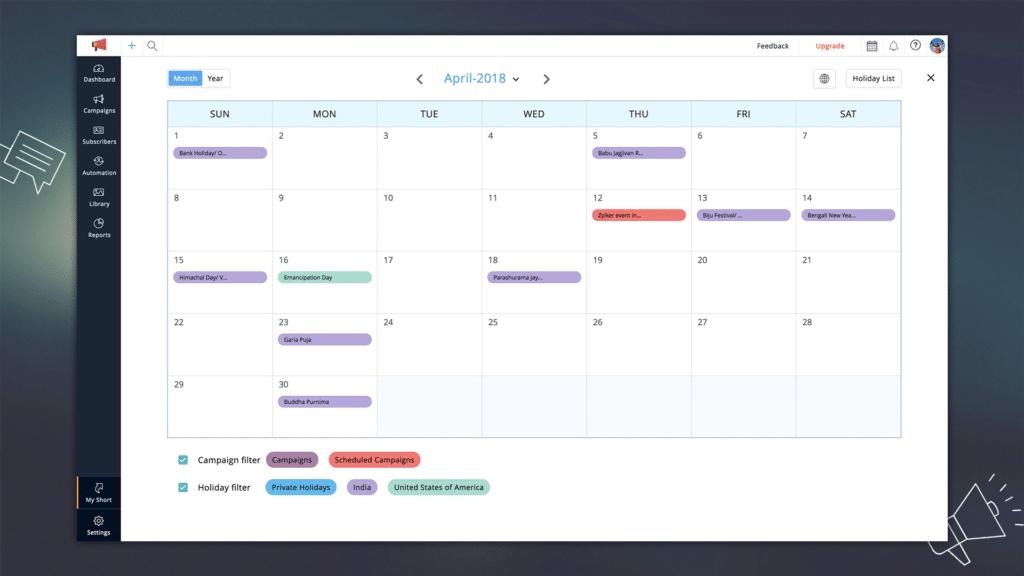 Calendario de marketing para planificar y ejecutar campañas.