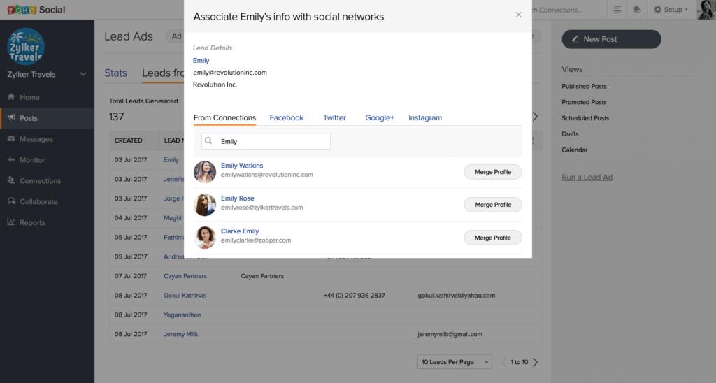campaña de clientes potenciales facebook con zoho crm